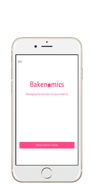 Main screen from inside the recipe costing & pricing app Bakenomics.